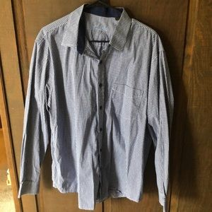 Blue and White Tiny Plaid Button Down